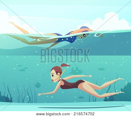 Cartoon set of horizontal banners with two women doing water sports and swimming underwater isolated vector illustration