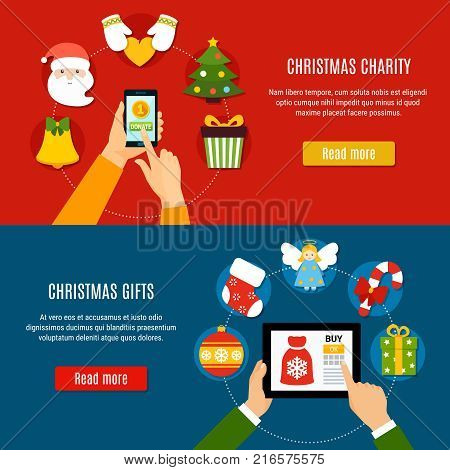 Horizontal banners with christmas charity and buying gifts online on red and blue background isolated vector illustration
