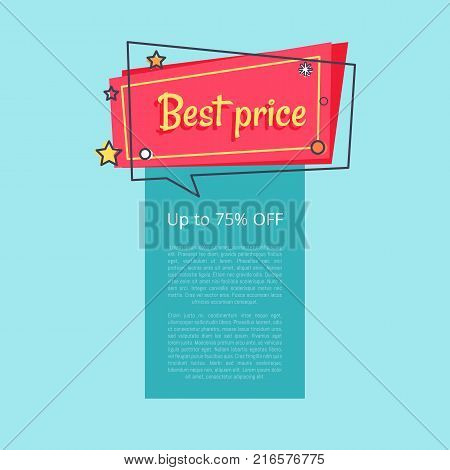 Best price up to 75 percent off special offer sale advertisement promotional poster discounts info about reducement of prices for some period vector