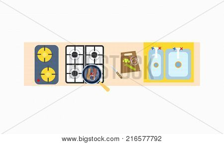 Top view on kitchen cooking table with stove with pan, cutting board with knife and double sink. Background of vector illustration with furniture is white