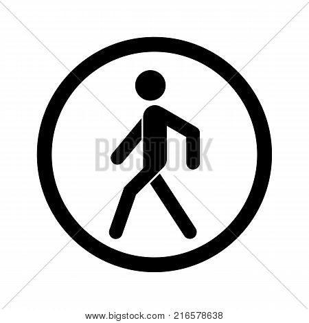 No walking sign. Prohibited black road sign isolated on white background. Pedestrian sign. Stop entry symbol for forbidden. Forbidden walking sign Vector illustration.