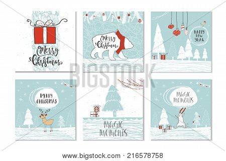 Christmas Gift Card Poster.Set 6 Cute Christmas Vector Photo Free Trial Bigstock