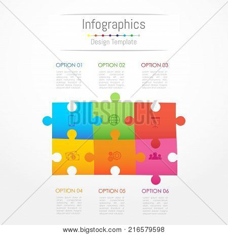 Infographic design elements for your business data with 6 options parts steps timelines or processes. Jigsaw puzzle concept Vector Illustration.