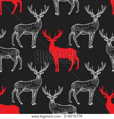 Deer. Seamless pattern with drawing animals and silhouettes. Hand graphic of wildlife. Vector illustration art. Red black white. Old engraving. Vintage. Design for fabrics paper textiles fashion