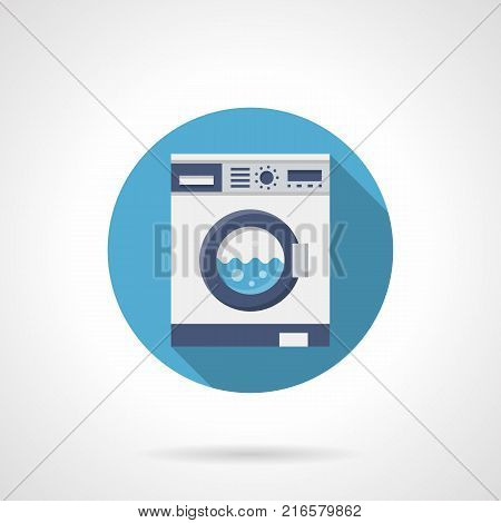 Symbol of washing clothes appliances. Household equipment, laundry service. Round flat design vector icon.