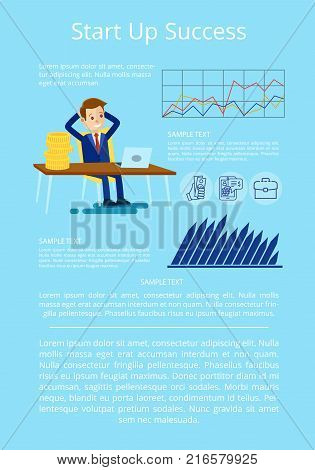 Startup success presentation on poster with graphs, charts and happy businessman. Background of vector illustration with startup ideas on light blue background