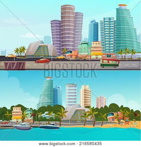 Miami waterfront houses skyline 2 retro cartoon banners set with famous city landmarks towers isolated vector illustration