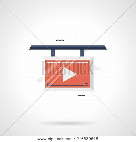 Symbol of board with red display and player button. Advertising videos and promotion. Flat color style vector icon.