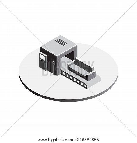Factory Conveyor System isometric. Engineering Machine Line Isometric View. Vector illustration