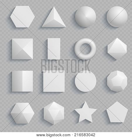 Top view realistic math basic shapes isolated on transparent background. Vector basic geometry shape, square and rectangle, hexagon and triangle illustration