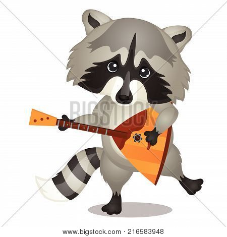Small wild forest animal play on musical instrument. Raccoon with balalaika isolated on white background. Sketch of festive poster, party invitation, holiday card. Vector cartoon close-up illustration