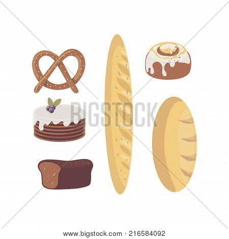 Fresh baked goods set for bakery store, cafe menu, pastry shop or market. Loaf of white wheat bread, brick-bread with seeds, cake, french baguette, pretzel. Cartoon flat food. Vector isolated on white