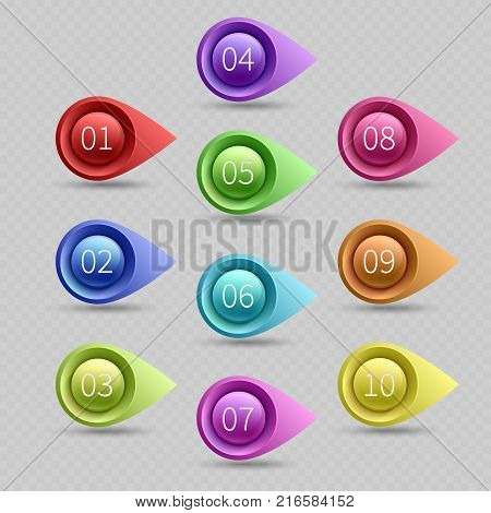 Ten color bullet points with numbers vector collection. Illustration of web bullet point arrow