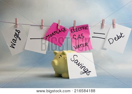 Household outgoings equation including bills, savings and wages on a line