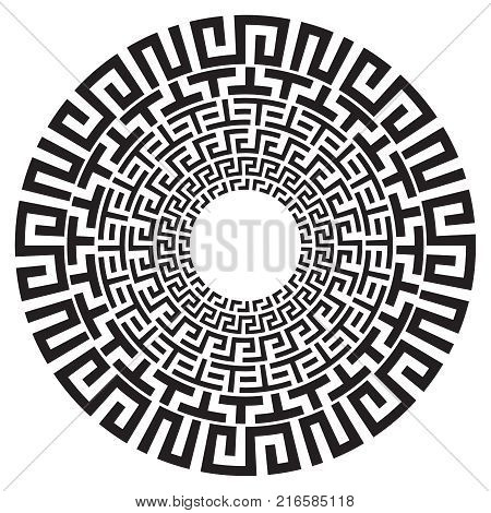 Ancient Greek round meander key black and white vector pattern. Illustration of greek ancient frame round pattern