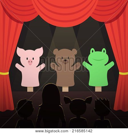 Childrens puppet theater performance with animals actors and kids audience vector illustration. Theater puppet stage for kids