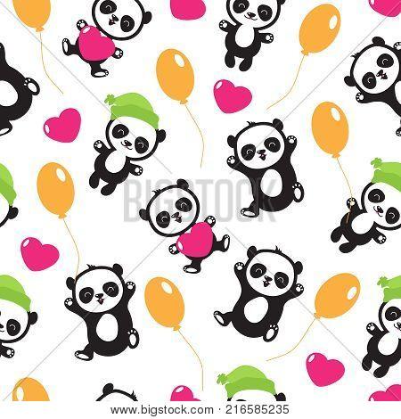 Funny cartoon panda baby bear vector childrens seamless pattern. Panda funny background, seamless pattern with wild character panda teddy illustration