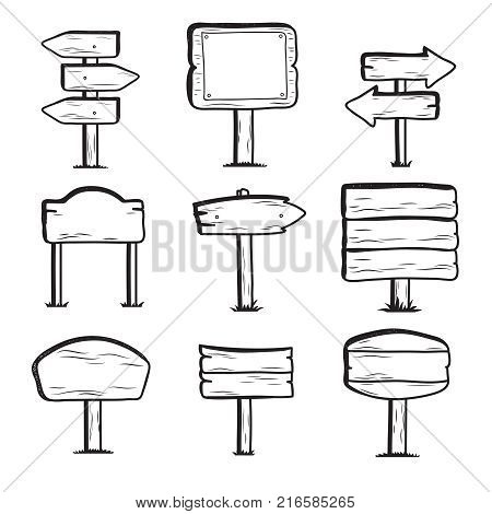 Hand drawn wooden street signs. Doodle sign post icons. Wood frame arrow, wooden billboard banner, vector illustration