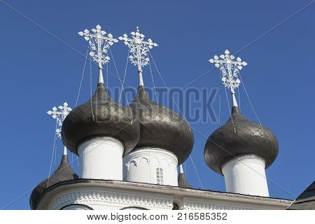 Domes Church of the Saviour Merciful in the town Belozersk, Vologda Region, Russia