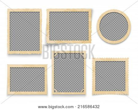 Vintage photo frames isolated. Vector antique picture borders collection. Illustration of frame photo blank for album