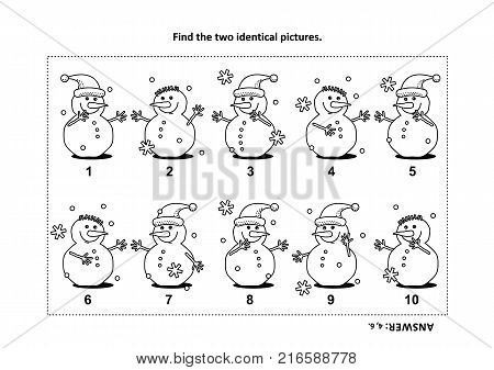 IQ training find the two identical pictures with snowman visual puzzle and coloring page. Answer included.