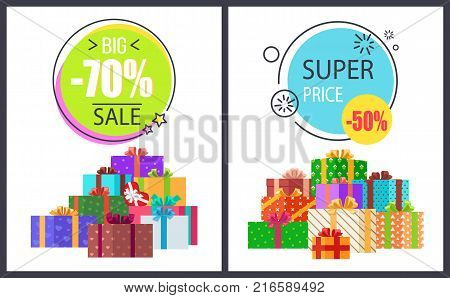 Big total sale - 70 off super half price discounts on round advert labels isolated on vector posters with gift boxes in decorative wrapping
