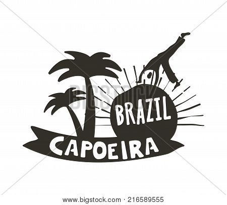 Capoeira Brazilian dance logo of African origin poster, martial art and dance form with acrobatic movements. Vector flat style black and white illustration