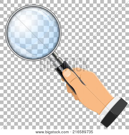 3D Realistic Magnifying Glass Loupe in Hand on transparent background. isolated vector illustration