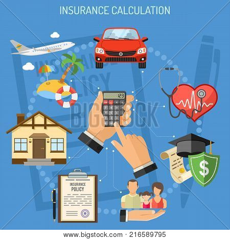 Concepts Insurance Services Calculation. Man holding calculator in hand and buying insurance policy. flat style icons Car, House, Medical, Education and Vacation insurance. vector illustration
