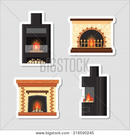 Stickers vector set different colorful home fireplaces with fire and firewood on gray background. Design elements, sticky labels in flat style - stock illustration.
