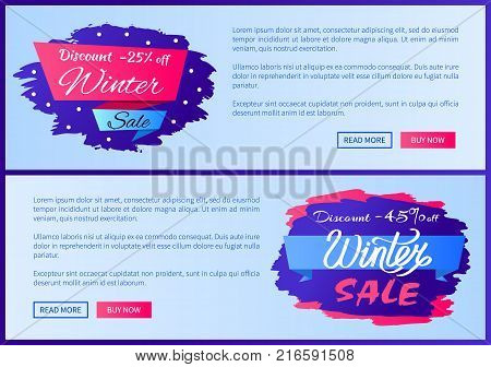 Discount -25 off winter sale, discount -45 off, collection of pages with titles and text, buttons that say read more and buy now vector illustration