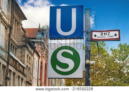 Public transport sign of the S-Bahnd and U-Bahn. The entrance to the underground station at Karlsplatz (Stachus) in Munich Germany