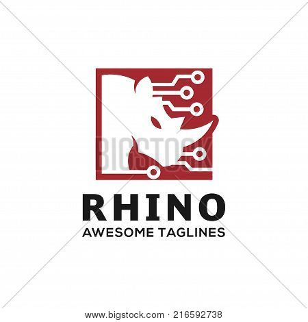 Rhinoceros, Rhino Logo.Rhino techno Logo, Business template, Rhinos head logo for electronic club or team. Animal mascot logotype. Template. Vector illustration.