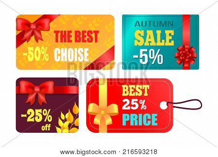 Gift cards design with decorative bows, best product certificates, autumn 2017 choice posters with percent sign vector illustration collection of tags