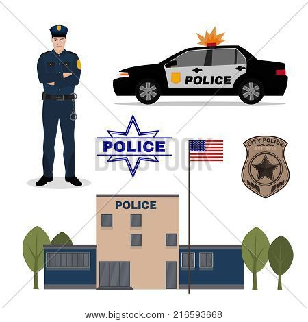 Police station, patrol car, policeman and officer badge. Editable vector illustration. Justice, safety and protection concept. Detailed pictogtams collection.