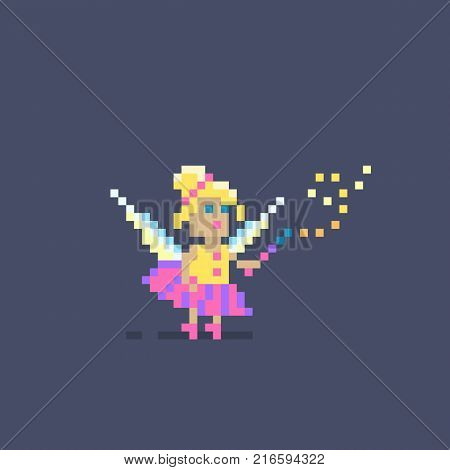 Pixel art cute fairy princess flying with magic wand.