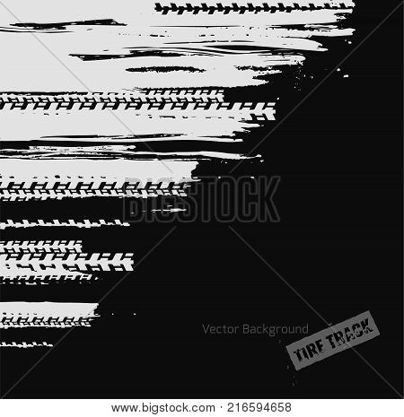 Tire tracks imprint texture. Dirty grunge off-road background. Graphic vector illustration useful for creating extreme rally, bike races materials. Editable graphic image in dark grey and white color.