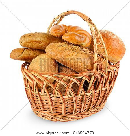 Freshly baked breads (buns, croissants, baguette, cereal bread) in basket isolated on white background.
