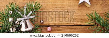 Panoramic Christmas Background with Silver Glass Bell.
