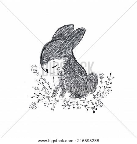 Cute tiny rabbit. Sweet bunny little hare with flowers. Hand drawn pencil illustration for kids and babies fashion or seasonal greeting cards.