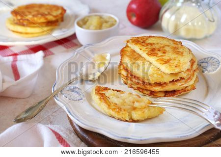 Homemade potato pancakes with apple puree two portions