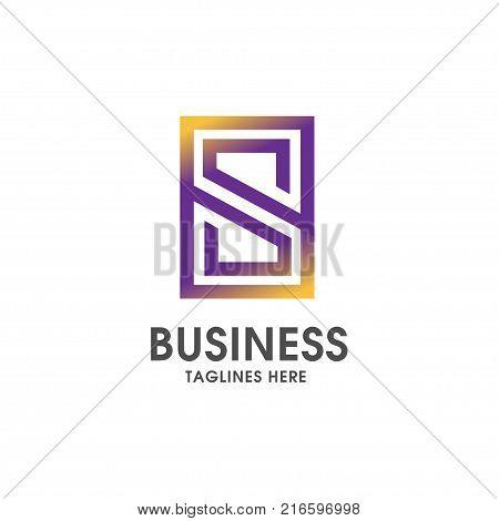 Letter S square  logo vector illustration template, letter S trend logo vector, creative  letter logo