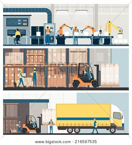 Smart factory warehouse freight transportation and professional workers banner set