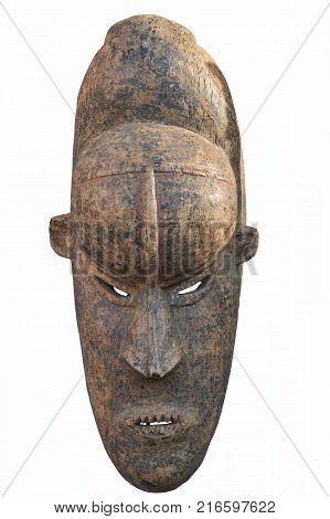 old handmade wooden mask on white background