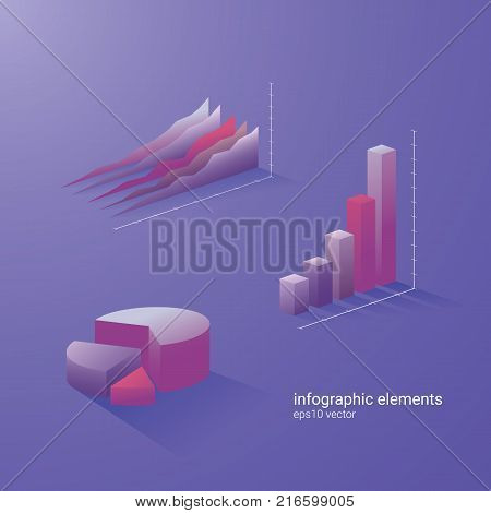 Set of business analysis vector graphs in modern 3d style. Suitable for infographics, reports, presentations. Eps10 vector illustration.
