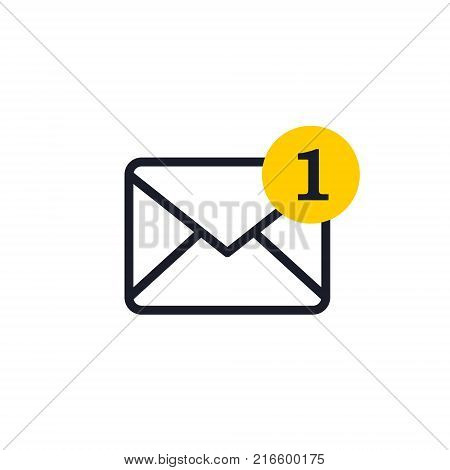 New incoming message envelope with one notification outline icon vector.