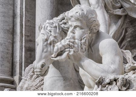 Details of Trevi Fountain statues. The Trevi Fountain is the largest and one of the most famous fountains in Rome. Completed in 1762 belongs to the late baroque.
