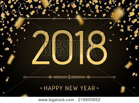 Happy New Year 2018 black premium background. Greeting card template 2018 with golden glitter confetti. Vector design party illustration of date 2018 year. Celebrate brochure flyer banner calendar.