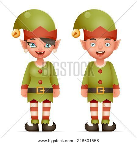 3d Realistic Cartoon Elf Boy Girl Characters Christmas Santa Teen Icons New Year Holiday Vector Illustration