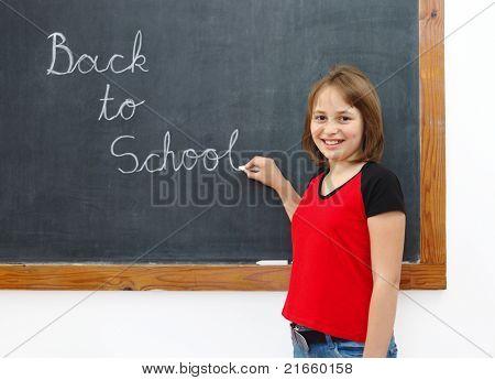 Elementary Writing Back To School On Chalkboard